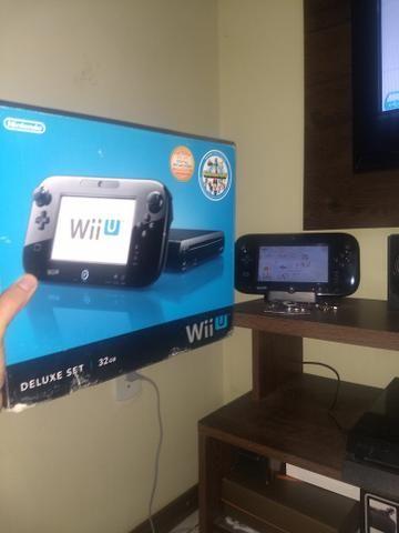 Nintendo Wii U com caixa + hd de 500gb com jogos + controle pró