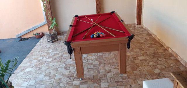 Mesa Tentação de Bilhar Cor Cerejeira Tecido Bordô Mod. UBCX2699 - Foto 3