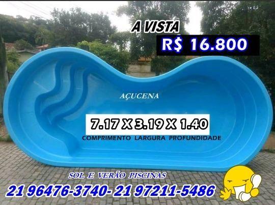 Piscina De Fibra Modelo Feijao Muito Linda 7 17 X 3 19 X 1 40