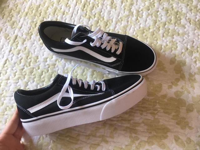 360aa63663 Tênis Vans Old Skool Platform Black White - Roupas e calçados ...