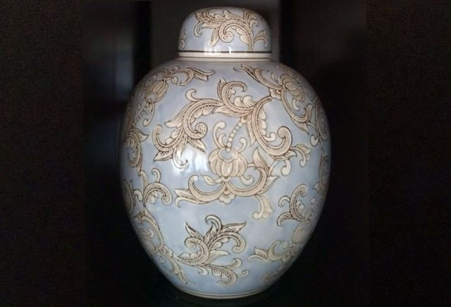 Vaso Potiche Bello Porcelana Floral Azul Novo