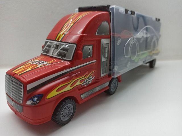 Caminhão Carreta Com 6 Carrinhos Roda Livre Criança Menino Caminhão - Foto 4