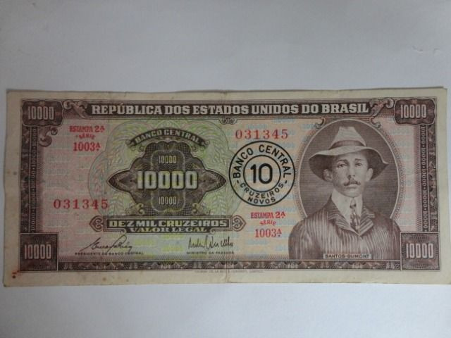 Cédula Antiga De 10.000 Cruzeiros Santos Dumont C/ Carimbo - 2ª estampa