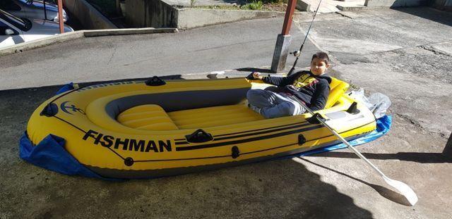 Barco Inflável Mor Fishman 350 + 2 remos + inflador - Foto 3