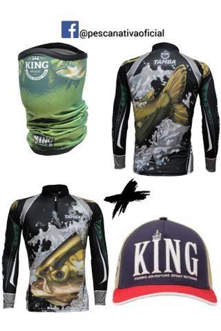 Combo completo masculino e feminino camisa proteção uv + bandana proteção uv + boné - Foto 3
