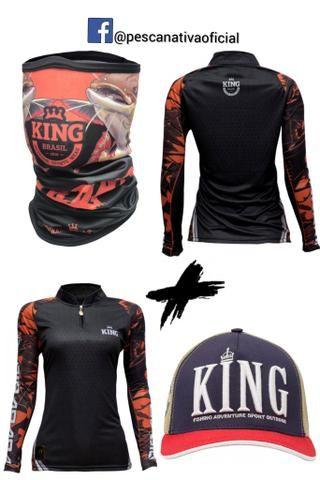 Combo completo masculino e feminino camisa proteção uv + bandana proteção uv + boné