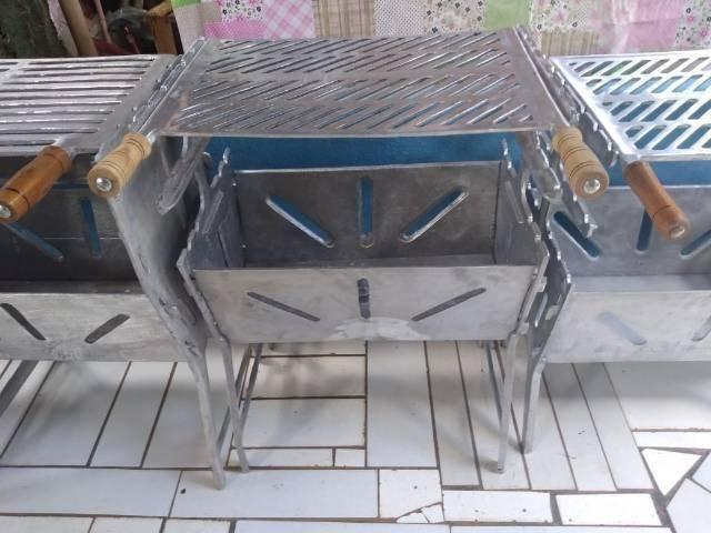 Churrasqueiras G aberta desmontável de alumínio batidos