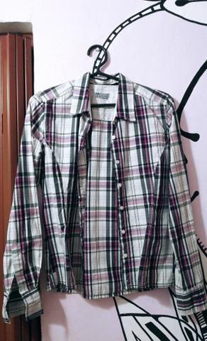 Blusão xadrez azul/preto/rosa/branco - Foto 2
