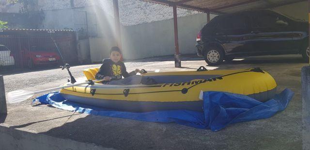Barco Inflável Mor Fishman 350 + 2 remos + inflador - Foto 2