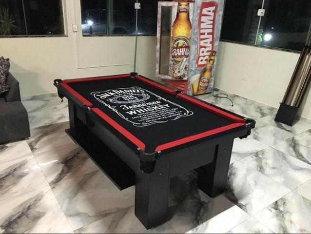 Mesa de Bilhar Tecido Preto Bordas Vermelhas Personalizada Modelo JDW8456 - Foto 3