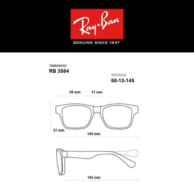 Óculos de Sol Unissex Rayban RB3584 Blaze Aviador com Proteção UV - Foto 4