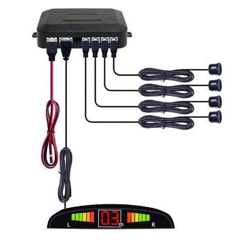 Sensor de estacionamento com 4 sensores reverso radar led e sonoro
