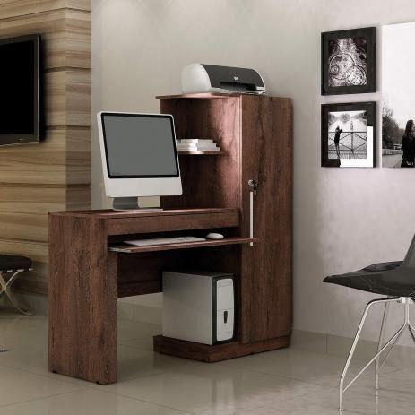 Mesa para Computador 1 Armário e Prateleira Office Valdemóveis - Foto 2
