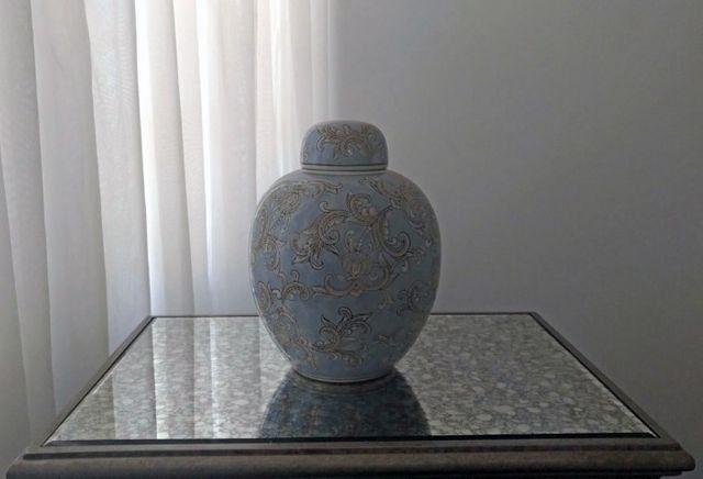 Vaso Potiche Bello Porcelana Floral Azul Novo - Foto 2
