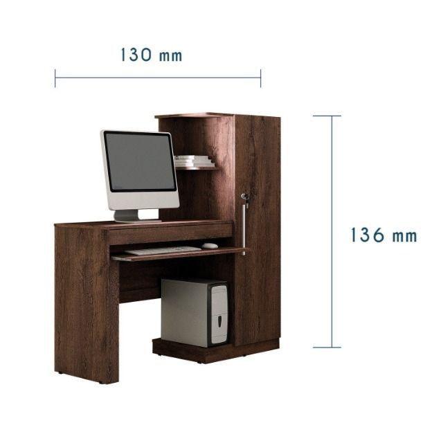 Mesa para Computador 1 Armário e Prateleira Office Valdemóveis - Foto 5