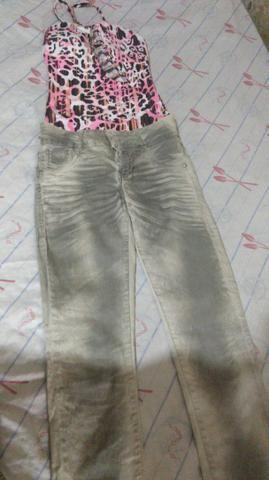 Vendo por 20 reais calça e body morena rosa por