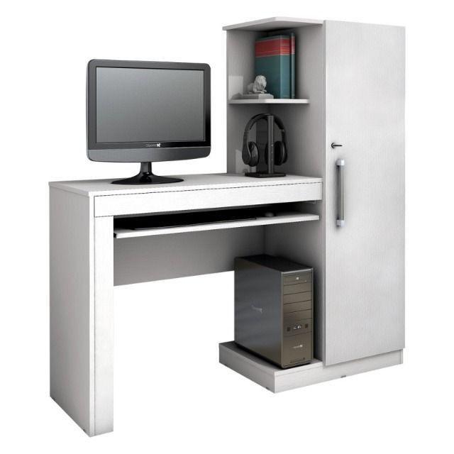 Mesa para Computador 1 Armário e Prateleira Office Valdemóveis - Foto 3