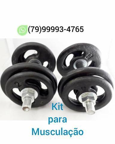 Kit para Musculação (Barrinhas + Anilhas ) Produtos Novos