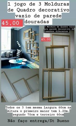 1 Jogo de 3 Molduras de Quadro de parede douradas decorativas - Foto 3