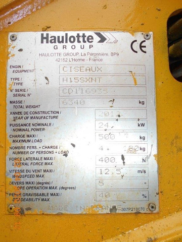 Plataforma Tesoura Diesel 2012 HA15SX Haulotte - AFI 3000452 - #7078 - Foto 2