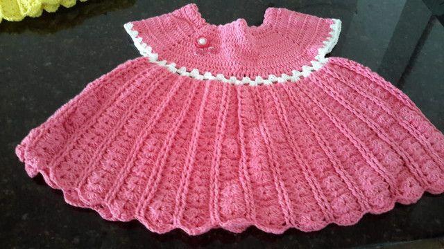 Vestidos/casaquinhos de crochê para meninas. - Foto 5