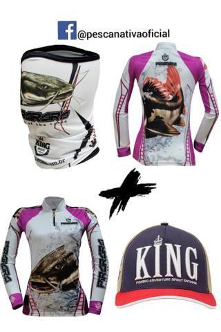 Combo completo masculino e feminino camisa proteção uv + bandana proteção uv + boné - Foto 2