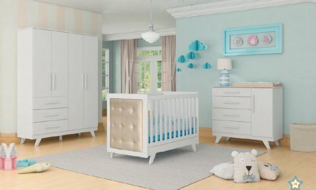 Frete Grátis* Quarto de Bebê Armário, Cômoda e Berço - Confort Retrô *NOVO