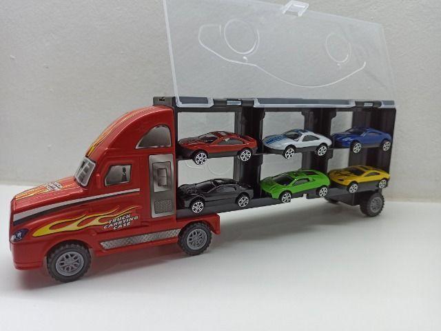 Caminhão Carreta Com 6 Carrinhos Roda Livre Criança Menino Caminhão - Foto 3
