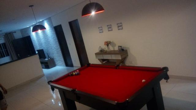 Mesa Charme de Bilhar e Jantar Cor Preta Tecido Vermelho Mod. NVJH4060 - Foto 2