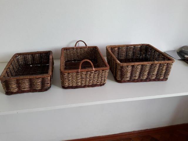 Centro de mesa, jarro, vaso, cesta rústica - Foto 6