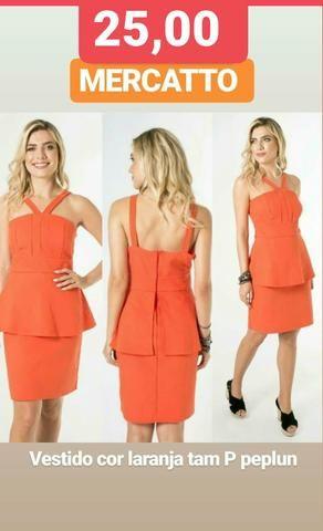 1 Vestido peplun marca MERCATTO tam P original cor laranja