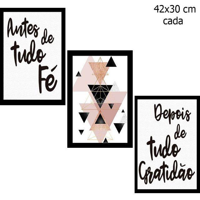 Kit 3 Placas Decorativas Mdf 42x30 Antes De Tudo Fé Gratidão - Foto 2