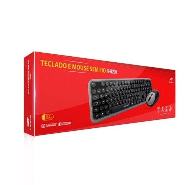Combo Teclado E Mouse Usb C3tech Sem Fio Preto  K-w200bgy - Foto 5