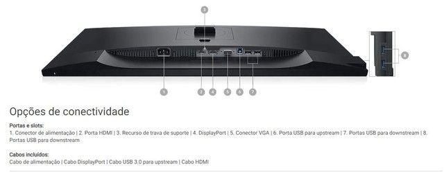 Monitor Dell Led 27 FullHd NFe Lacrado Ips Hdmi Ajuste Altura Rotacao 85.70-62.79 - Foto 5