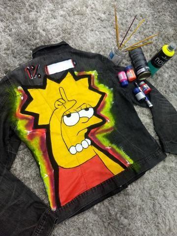 Jaqueta jeans Customizada Tam G