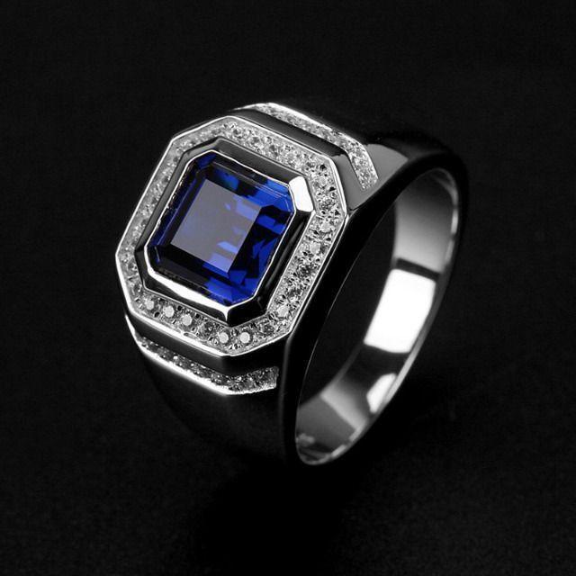 Anéis Hnsp moda azul pedra cristal masculino tam 20-21 - Foto 2