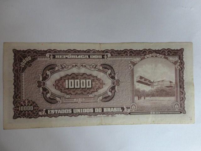Cédula Antiga De 10.000 Cruzeiros Santos Dumont C/ Carimbo - 2ª estampa - Foto 2