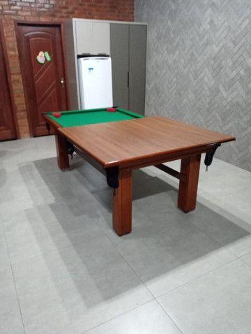 Mesa Madeira Pgto na Entrega Cor Imbuia Tecido Verde Mod. PPGX2460 - Foto 2