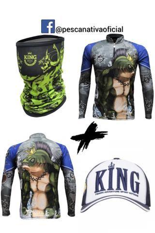 Combo completo masculino e feminino camisa proteção uv + bandana proteção uv + boné - Foto 4