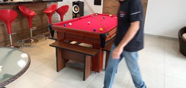 Mesa Madeira de Bilhar Cor Imbuia Tecido Vermelho Mod. CQFM2935 - Foto 3
