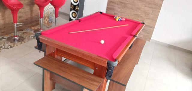 Mesa Madeira de Bilhar Cor Imbuia Tecido Vermelho Mod. CQFM2935