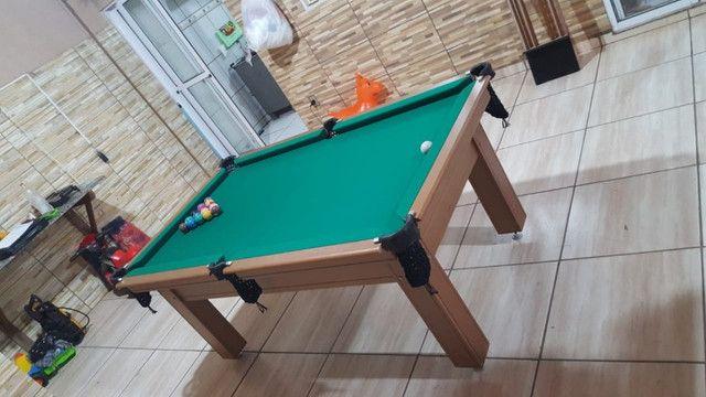 Mesa Tentação de Sinuca e Bilhar Cor Cerejeira Tecido Verde Mod. CXUB3402