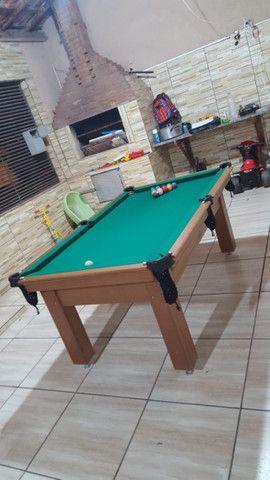 Mesa Tentação de Sinuca e Bilhar Cor Cerejeira Tecido Verde Mod. CXUB3402 - Foto 2