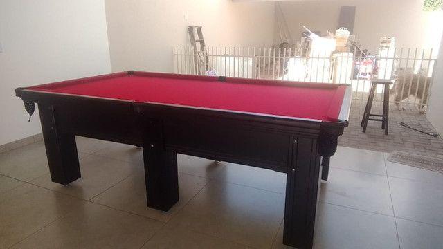 Mesa Madeira de Bilhar Cor Preta Tecido Vermelho Mod. KHSK3325 - Foto 2