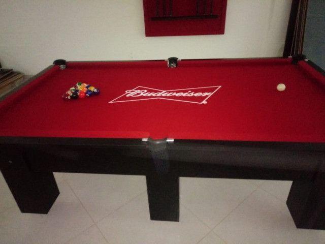 Mesa Charme de Sinuca Cor Preta Tecido Vermelho Logo Budweiser Mod. UEKM3526 - Foto 2
