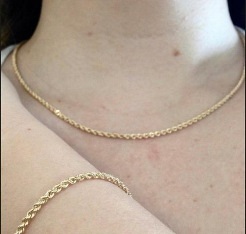 Colar e pulseira ouro 18k