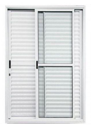 Porta Balcão de Correr Alumínio Branco Linha 25 2,10 x 1,50 Completa