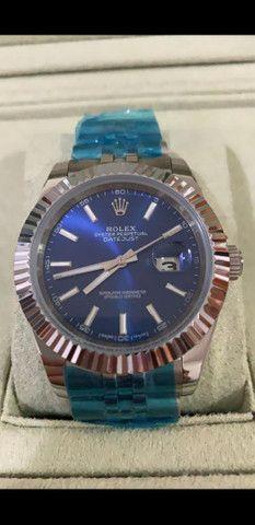 Relógio Rolex Oyster Perpetual Datejust Fundo Azul automático a prova d'água Completo
