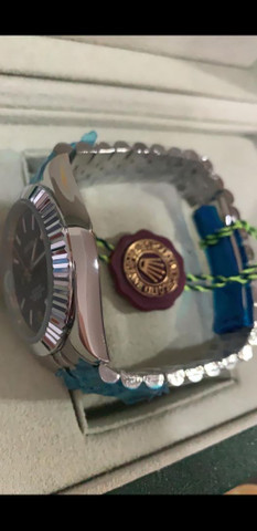 Relógio Rolex Oyster Perpetual Datejust Fundo Azul automático a prova d'água Completo - Foto 4