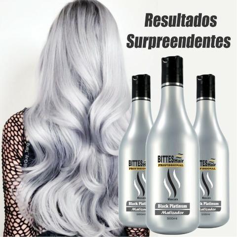 Black Platinum Matizador Bittes Hair 500 ml Cabelos Matizados e Hidratados Acinzentados - Foto 4